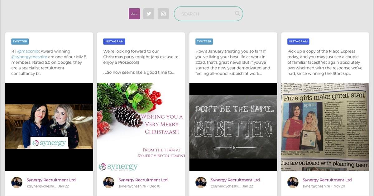 Synergy Recruitment website has integrated social media feeds