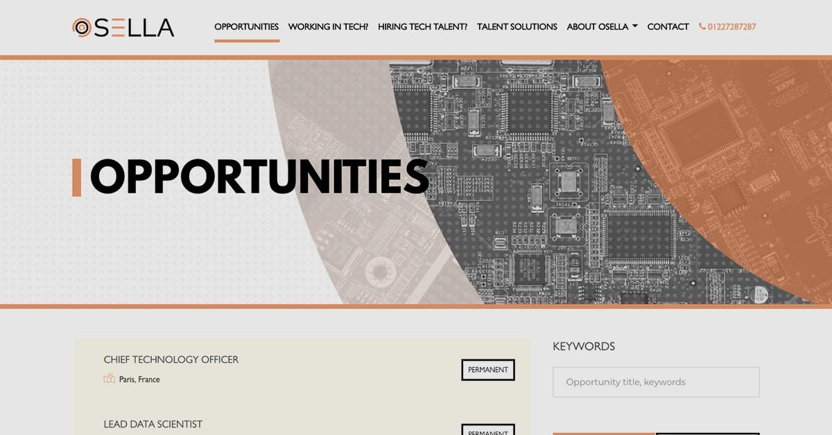 Ossela's recruitment website features advanced functionalities