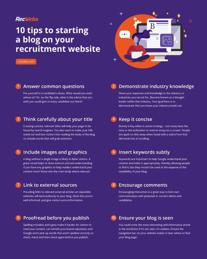 Infographic with 10 tips to start a blog on a recruitment website