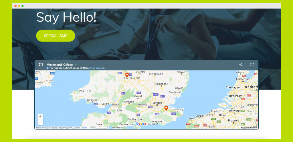 Example of a Google Map integration in a recruitment website