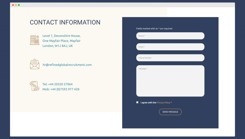 Example of a contact form on a recruitment website